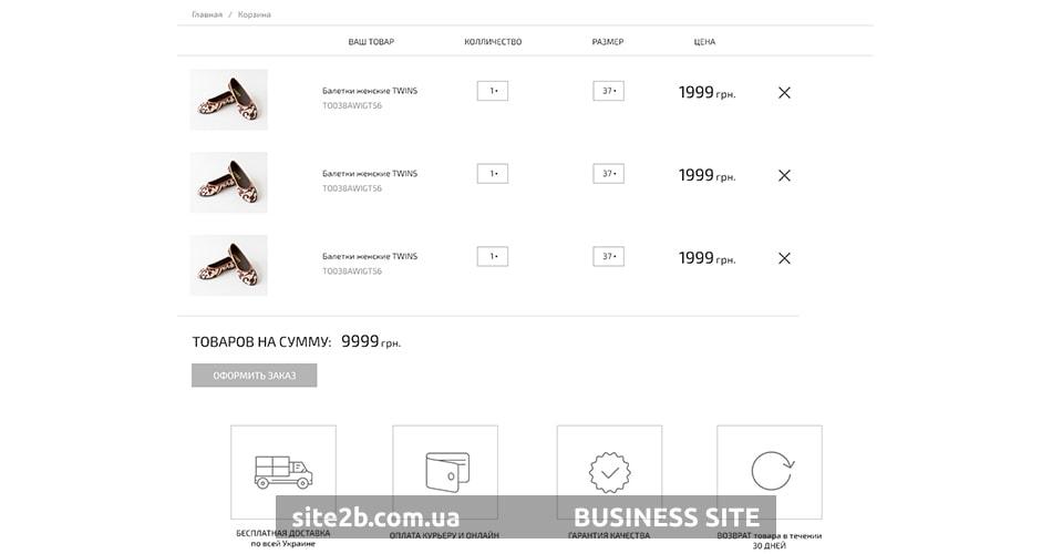 Корзина для интернет-магазина обуви